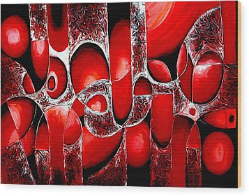 Best Art Choice Award Original Abstract Oil Painting Modern Red Contemporary House Wall Deco Gallery Wood Print by Emma Lambert