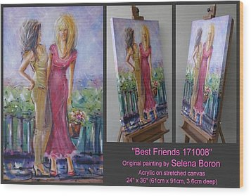 Wood Print featuring the painting Best Friends 171008 by Selena Boron