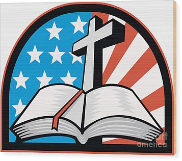 Bible With Cross American Stars Stripes Wood Print by Aloysius Patrimonio