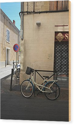 Bicycle Aigues Mortes France Wood Print by John Jacquemain