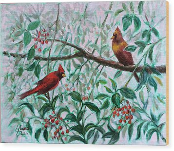 Birds In Our Garden Wood Print by Laila Awad Jamaleldin