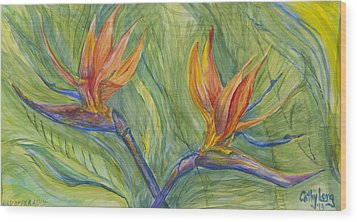 Wood Print featuring the painting Birds Of Paradise by Cathy Long