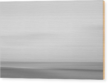 Black And White Abstract Seascape No. 01 Wood Print