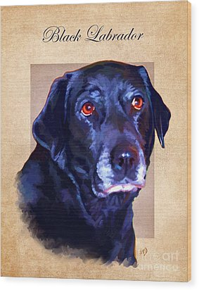 Black Labrador Art Wood Print by Iain McDonald