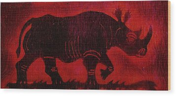 Wood Print featuring the pyrography Black Rhino by Larry Campbell
