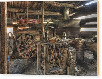 Blacksmith Shop Wood Print by Jaki Miller