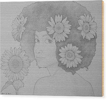 Blooming Girl Sunflower  Wood Print by Aaron El-Amin