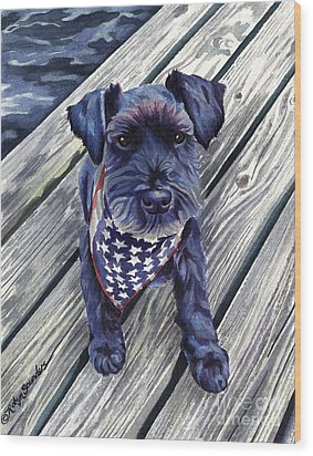 Blue Black Dog On Pier Wood Print
