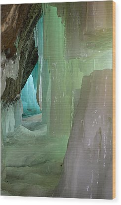 Blue Green Ice Wood Print