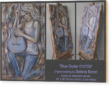 Wood Print featuring the painting Blue Guitar 010709 by Selena Boron
