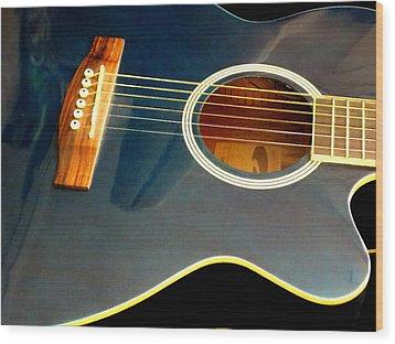 Blue Guitar Wood Print