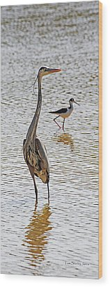Blue Heron And Stilt Wood Print