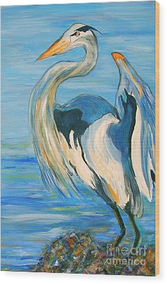 Blue Heron II Wood Print