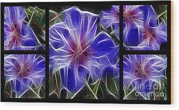 Blue Hibiscus Fractal Wood Print by Peter Piatt