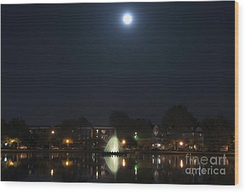 Wood Print featuring the digital art Blue Moon Over Fountain Lake by Kelvin Booker