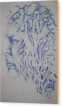 Blue Wood Print by Moshfegh Rakhsha