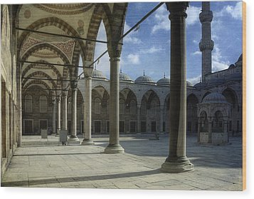 Blue Mosque Courtyard Wood Print by Joan Carroll
