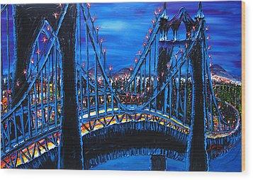 Blue Night Of St. Johns Bridge 12 Wood Print by Portland Art Creations