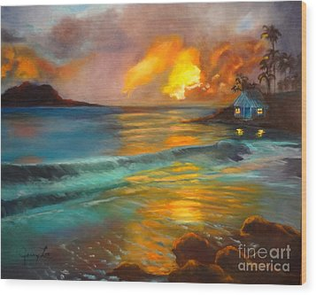 Wood Print featuring the painting Blue Sunset by Jenny Lee