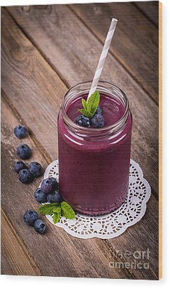 Blueberry Smoothie Wood Print by Jane Rix