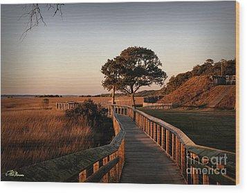 Boardwalk At Fort Fisher Wood Print