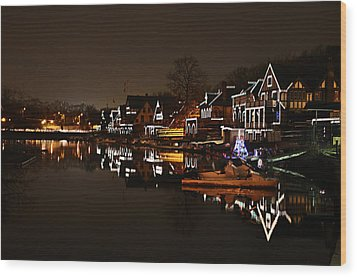 Boathouse Row Lights Wood Print by Bill Cannon