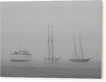 Boats In Fog Wood Print