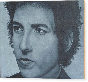 Wood Print featuring the painting Bob Dylan by David Dunne