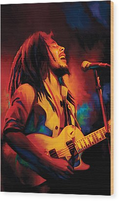 Bob Marley Artwork Wood Print by Sheraz A