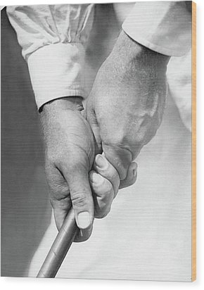 Bobby Jones Holding A Golf Club Wood Print by O. B. Keeler