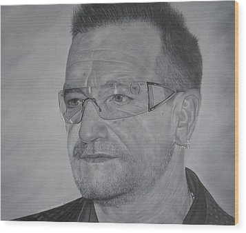 Wood Print featuring the painting Bono by David Dunne