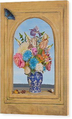 Bosschaert - Flower Bouquet In Chinese Jar Wood Print by Levin Rodriguez