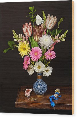 Bosschaert - Flower Bouquet In Chinese Pot Wood Print by Levin Rodriguez