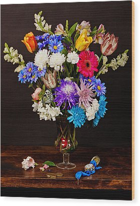 Bosschaert - Flowers In Glass Vase Wood Print by Levin Rodriguez