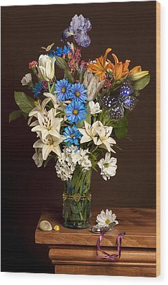 Bosschaert -flower Bouquet In Vase With Watch Wood Print by Levin Rodriguez