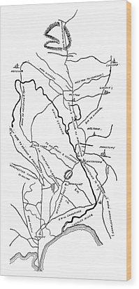 Boston-concord Map, 1775 Wood Print by Granger