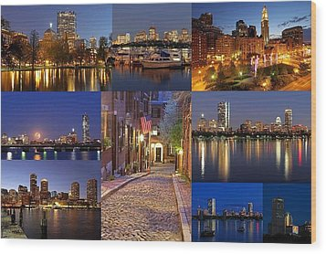 Boston Skyline Photography Wood Print by Juergen Roth