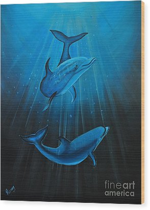 Bottle-nose Dolphins Wood Print