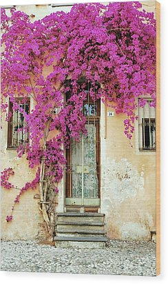 Bougainvillea Doorway Wood Print