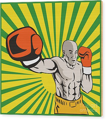 Boxer Boxing Jabbing Front Wood Print by Aloysius Patrimonio