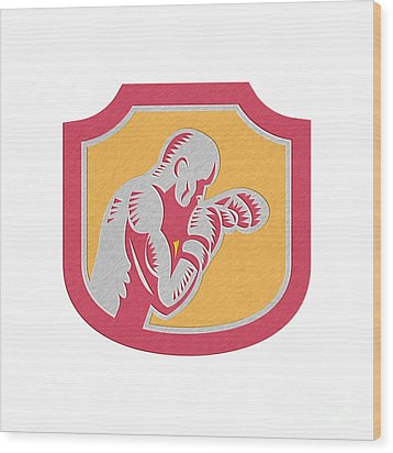 Boxer Boxing Jabbing Punch Side Shield Retro Wood Print by Aloysius Patrimonio