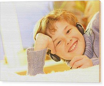 Boy Listen To Music Wood Print by Michal Bednarek
