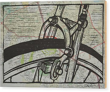 Brake On Map Wood Print by William Cauthern