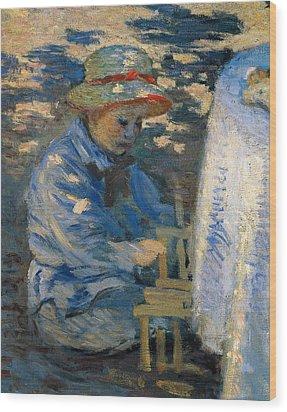 Breakfast In The Garden Wood Print by Claude Monet