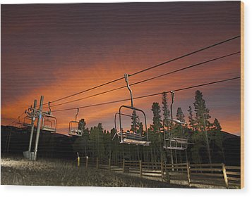 Breckenridge Chairlift Sunset Wood Print by Michael J Bauer