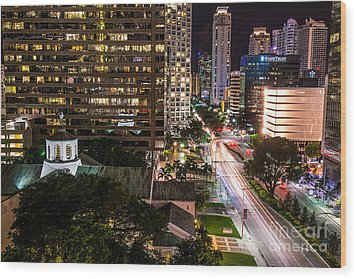 Brickell Ave Downtown Miami  Wood Print by Michael Moriarty