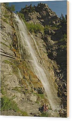 Bridal Veil Falls Wood Print by Nick  Boren