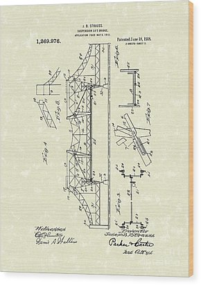Bridge 1918 Patent Art Wood Print by Prior Art Design