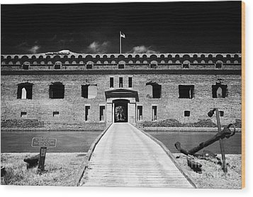 Bridge Across The Moat Sally Port Entrance To Fort Jefferson Dry Tortugas National Park Florida Keys Wood Print by Joe Fox