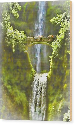 Bridge At The Falls Wood Print